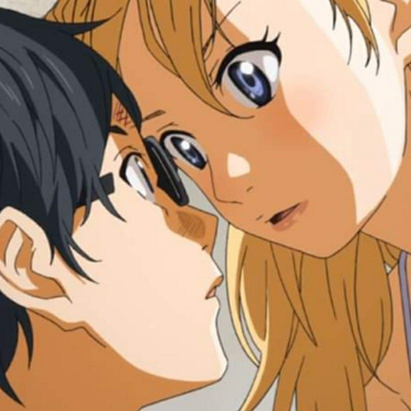 Kousei Arima and Kaori from Your Lie in April staring intently at each other