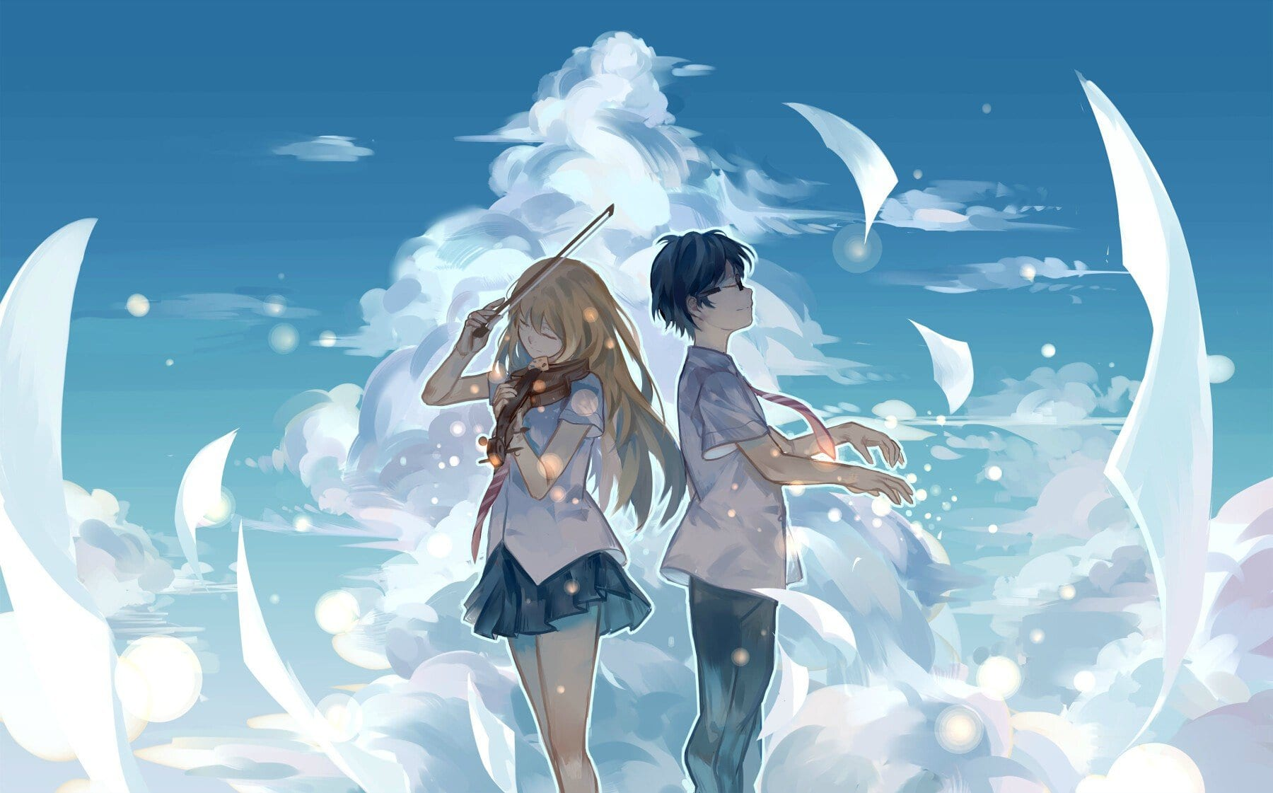 Your Lie in April main characters posed in clouds practicing music
